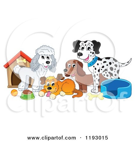 Cartoon of Dogs and Supplies by a House - Royalty Free Vector Clipart by visekart