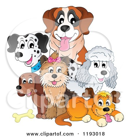 Happy Dogs and a Bone Posters, Art Prints