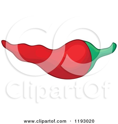 Cartoon of a Spicy Hot Red Chili Pepper - Royalty Free Vector Clipart by visekart
