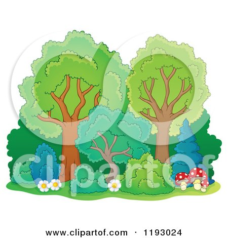 Cartoon of a Lush Trees with Shrubs Flowers and Mushrooms - Royalty Free Vector Clipart by visekart
