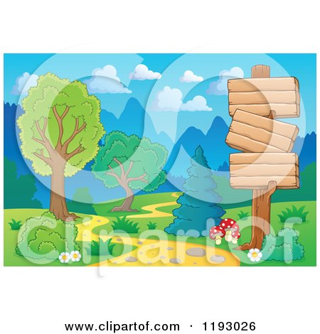 Cartoon of Wooden Signs Along a Winding Path in a Landscape - Royalty Free Vector Clipart by visekart