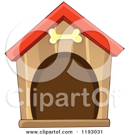Cartoon of a Brown Dog House with a Bone over the Door - Royalty Free Vector Clipart by visekart
