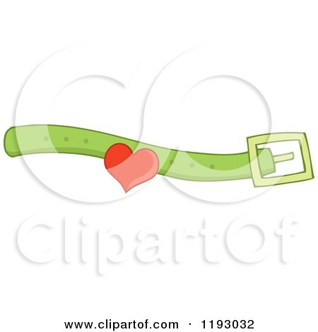 Cartoon of a Green Dog or Cat Collar with a Heart - Royalty Free Vector Clipart by visekart