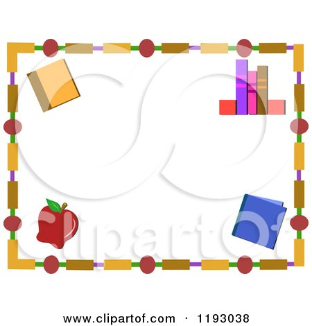 Cartoon of a Frame of Books and an Apple - Royalty Free Vector Clipart by bpearth