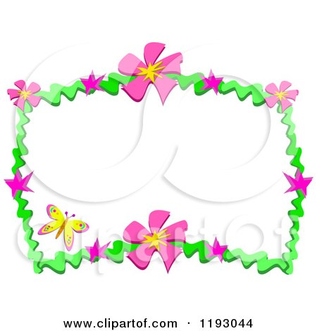 Cartoon of a Yellow Butterfly and Frame of Pink Flowers and Green Waves - Royalty Free Vector Clipart by bpearth