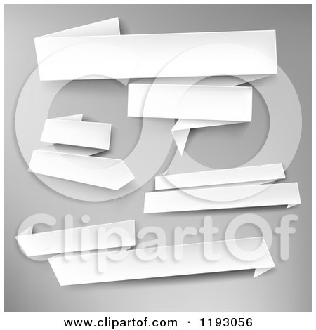 Clipart of 3d White Paper Banners over Gray - Royalty Free Vector Illustration by TA Images