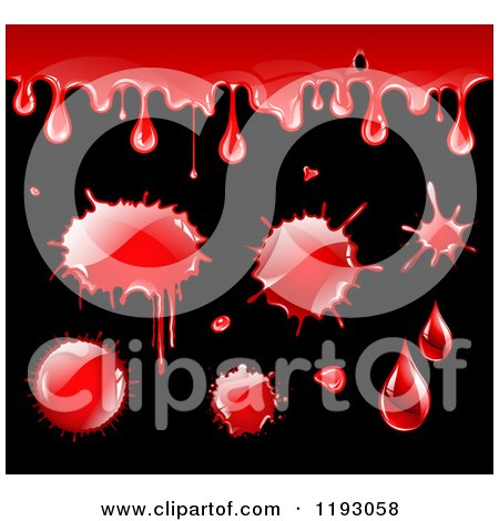 Clipart of Blood Drips and Splatters on Black - Royalty Free Vector Illustration by TA Images