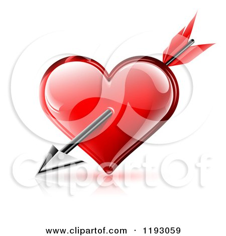 Clipart of Cupids Arrow Through a Red Glossy Heart with Reflections on White - Royalty Free Vector Illustration by TA Images