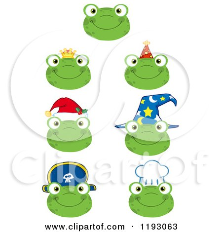 Cartoon of Happy Frog Faces with Different Hats - Royalty Free Vector Clipart by Hit Toon