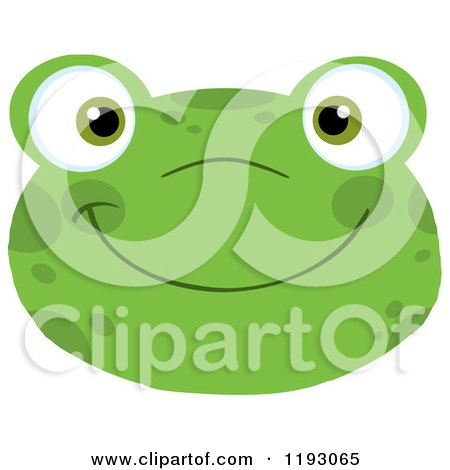 Cartoon of a Smiling Happy Frog Face - Royalty Free Vector Clipart by Hit Toon