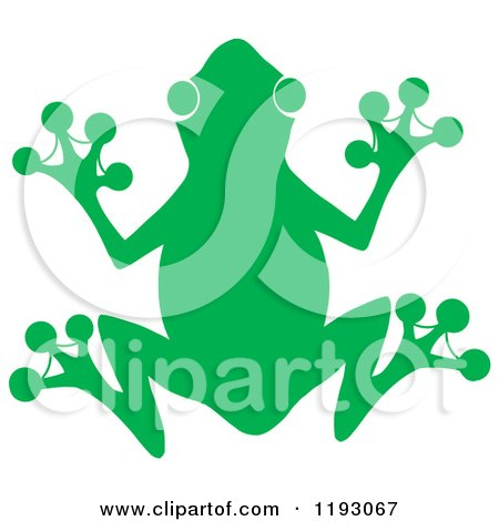 Cartoon of a Green Silhouetted Frog - Royalty Free Vector Clipart by Hit Toon