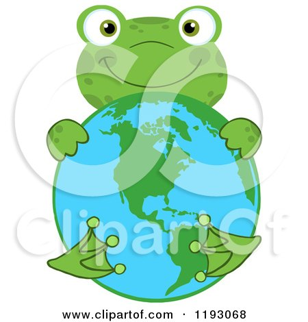 Cartoon of a Happy Green Frog Hugging Earth - Royalty Free Vector Clipart by Hit Toon