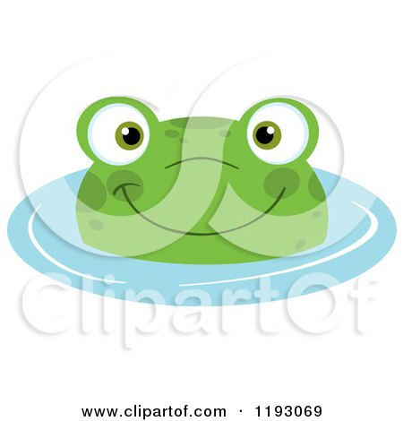 Cartoon of a Happy Frog Wading in Blue Water - Royalty Free Vector Clipart by Hit Toon