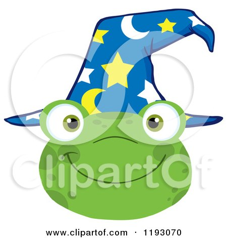 Cartoon of a Happy Wizard Frog Face with a Hat - Royalty Free Vector Clipart by Hit Toon
