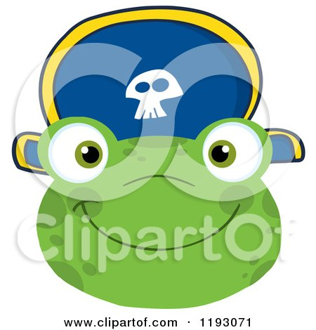 Cartoon of a Smiling Happy Frog Face with a Pirate Hat - Royalty Free Vector Clipart by Hit Toon