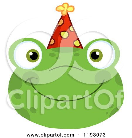 Cartoon of a Smiling Happy Frog Face with a Party Hat - Royalty Free Vector Clipart by Hit Toon