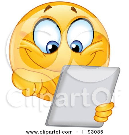 Cartoon of a Happy Smiley Emoticon Using a Tablet Computer - Royalty Free Vector Clipart by yayayoyo