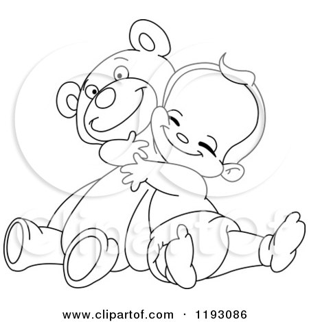 Cartoon of an Outlined Happy Baby Boy Hugging a Teddy Bear - Royalty Free Vector Clipart by yayayoyo
