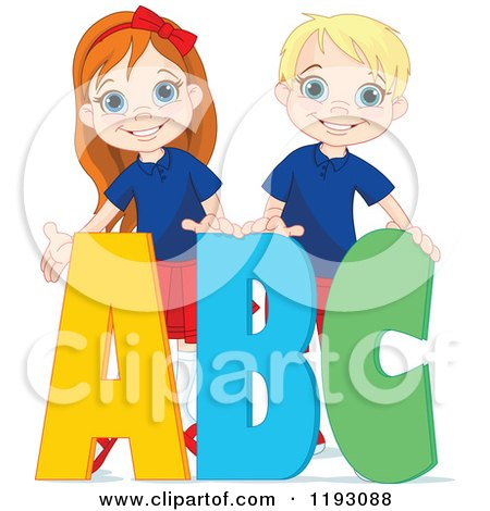 Cartoon of Happy School Boy and Girl with ABC Alphabet Letters - Royalty Free Vector Clipart by Pushkin