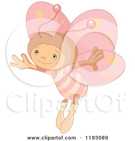 Cartoon of a Cute Butterfly with Pink Wings - Royalty Free Vector Clipart by Pushkin