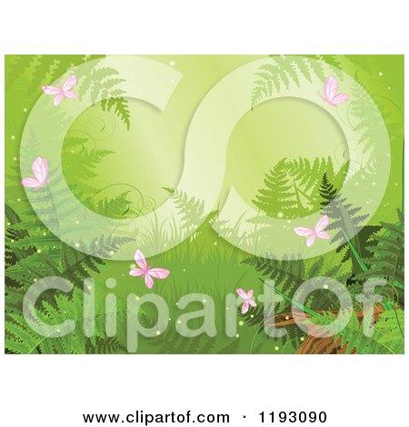 Rainforest Scene with Ferns and Pink Butterflies Posters, Art Prints