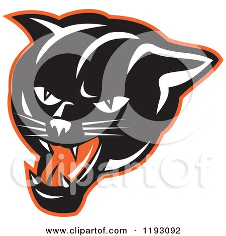 clipart of a stalking and crouching black panther cat - royalty