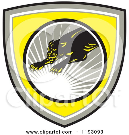 Clipart of a Leaping Panther in a Gray Circle with a Sun Burst on a Yellow Shield - Royalty Free Vector Illustration by patrimonio
