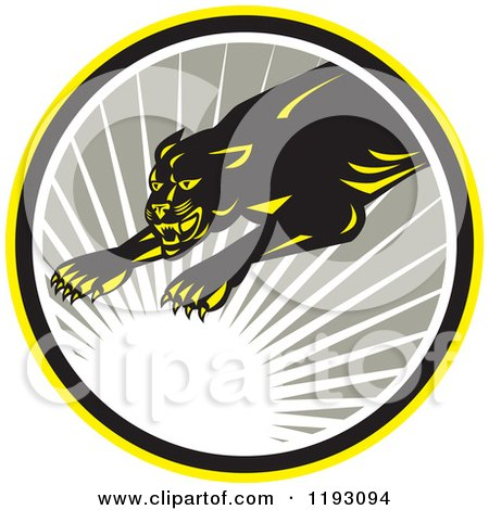 Clipart of a Leaping Panther in a Gray Circle with a Sun Burst - Royalty Free Vector Illustration by patrimonio