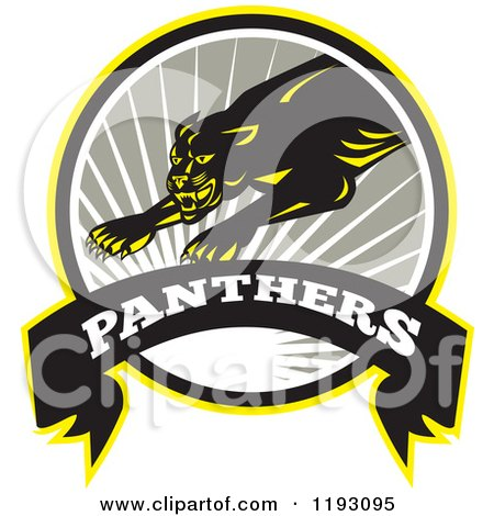 Clipart of a Leaping Big in a Gray Circle with a Sun Burst and Panthers Banner - Royalty Free Vector Illustration by patrimonio
