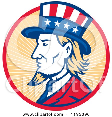 Clipart of a Retro Uncle Sam with a Patriotic Top Hat in a Circle of Rays - Royalty Free Vector Illustration by patrimonio