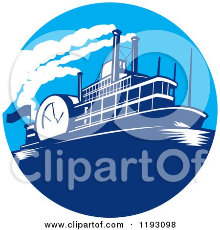 Clipart of a Steamboat in a Blue Circle - Royalty Free Vector Illustration by patrimonio