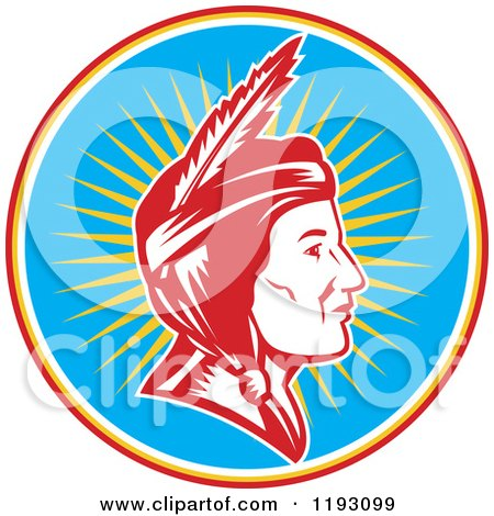 Clipart of a Retro Profiled Native American Indian Woman Woodcut over Rays in a Blue Circle - Royalty Free Vector Illustration by patrimonio