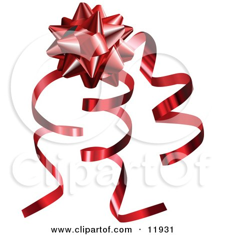 Red Gift Bow And Curly Ribbons On A Present Clipart Illustration