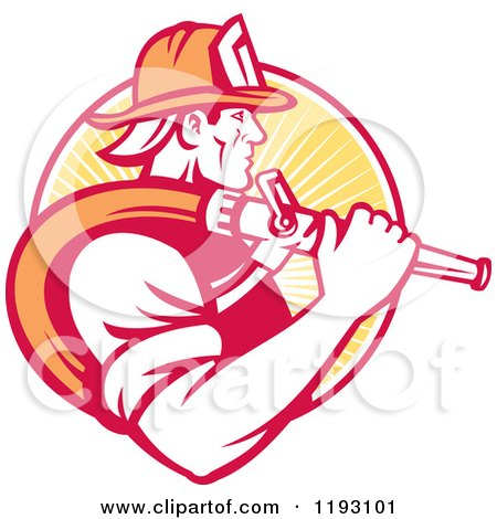 Clipart Of A Retro Fireman In Profile Carrying A Hose Over His Shoulder Against A Yellow Ray Circle Royalty Free Vector Illustration