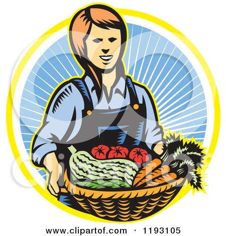 Clipart of a Woodcut Female Farmer with a Basket Full of Organic Produce over a Ray Circle - Royalty Free Vector Illustration by patrimonio
