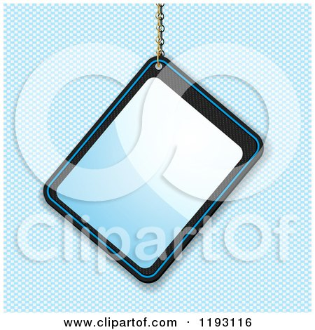 Clipart of a Reflective Glossy Blue Tag Hanging from a Chain over a Blue Grid - Royalty Free Vector Illustration by elaineitalia
