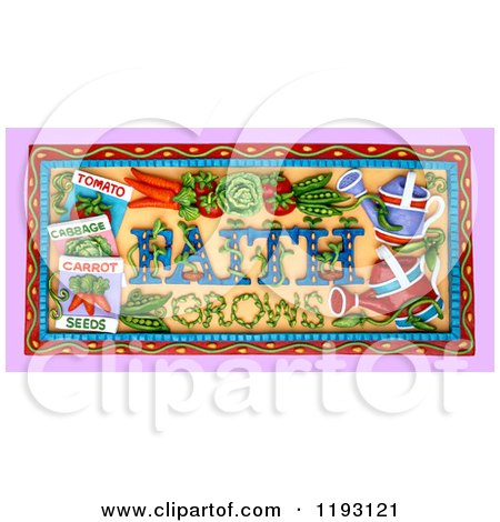 Clipart of a 3d Faith Grows Garden Scene - Royalty Free CGI Illustration by Amy Vangsgard