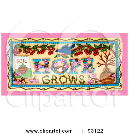 Clipart of a 3d Hope Grows Garden Scene - Royalty Free CGI Illustration by Amy Vangsgard
