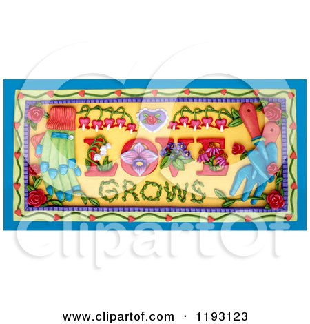 Clipart of a 3d Love Grows Garden Scene - Royalty Free CGI Illustration by Amy Vangsgard
