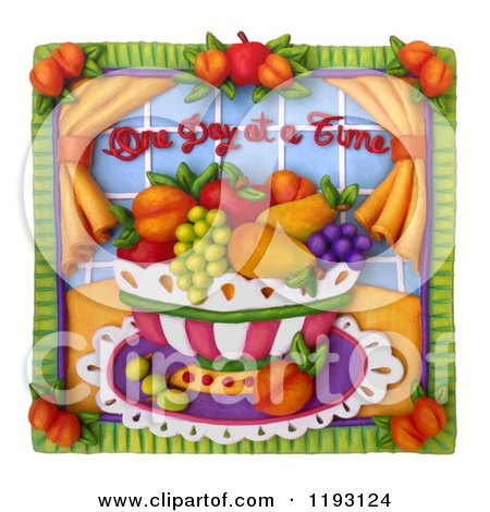 Clipart of a 3d One Day at a Time Fruit Bowl Scene with a White Border - Royalty Free CGI Illustration by Amy Vangsgard