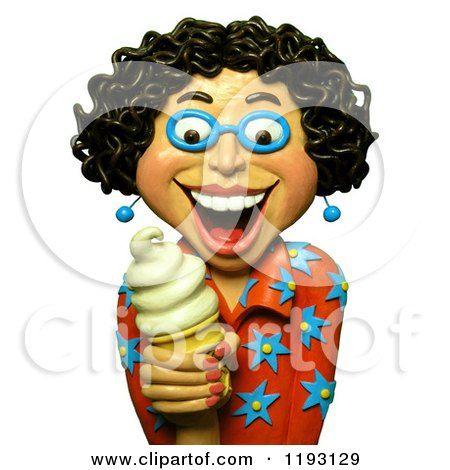 Clipart of a 3d Estatic Woman Holding a Vanilla Ice Cream Cone - Royalty Free CGI Illustration by Amy Vangsgard