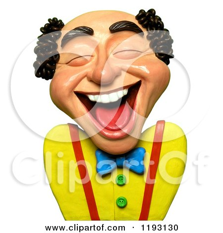 Clipart of a 3d Balding Man Laughing out Loud - Royalty Free CGI Illustration by Amy Vangsgard