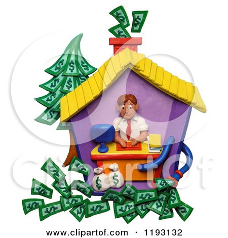 Clipart of a 3d Man Working in His Home Office and Making a Lot of Money - Royalty Free CGI Illustration by Amy Vangsgard