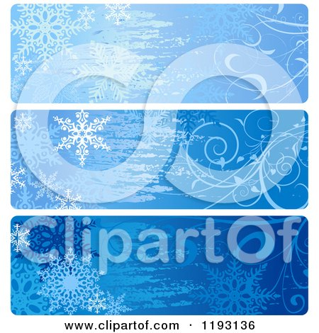 Clipart of Grungy Blue Snowflake and Vine Christmas Website Banners - Royalty Free Vector Illustration by dero