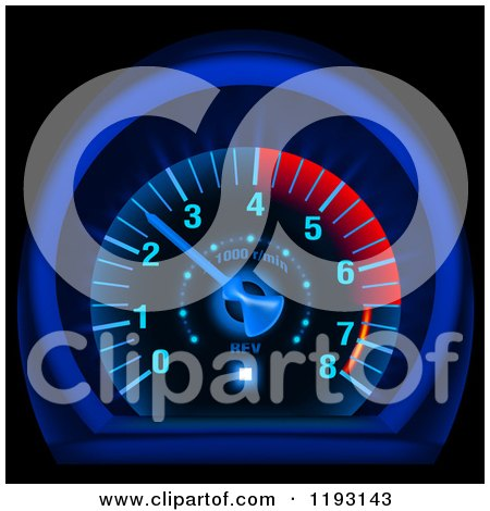 Clipart of a Glowing Blue and Red Speedometer - Royalty Free Vector Illustration by dero