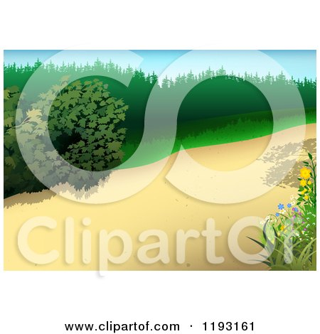 Clipart of a Nature Path with Plants - Royalty Free Vector Illustration by dero