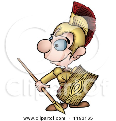 Cartoon of a Happy Roman Soldier Looking to the Side - Royalty Free Vector Clipart by dero