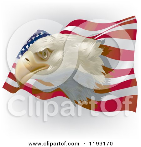Clipart of a Bald Eagle Head over a Wavy American Flag on Shading - Royalty Free Vector Illustration by dero