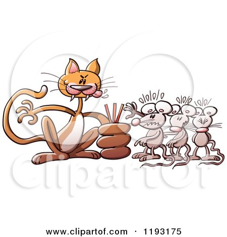 Cartoon of a Bully Cat Deciding Which Mouse to Eat from a Line - Royalty Free Vector Clipart by Zooco