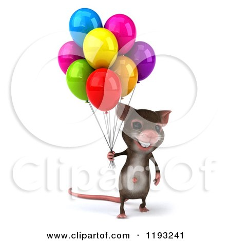 Clipart of a 3d Happy Mouse with Colorful Party Balloons - Royalty Free CGI Illustration by Julos